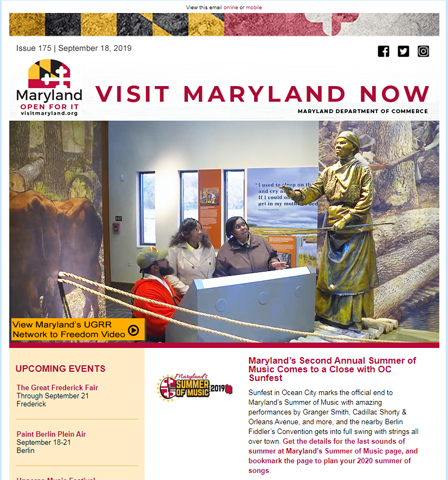 Visit Maryland Now eNewsletter