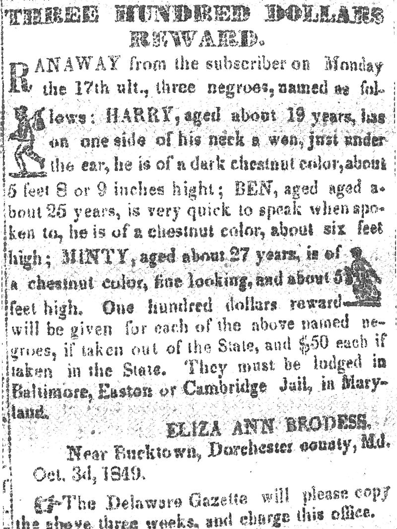 Notice published in the Cambridge Democrat (1849), offering a reward for the return of Harriet Tubman and her two brothers