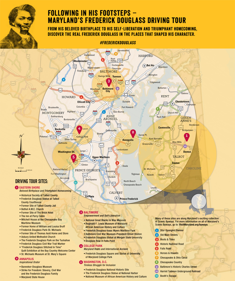 Following In His Footsteps - Maryland's Frederick Douglass Driving Tour Map