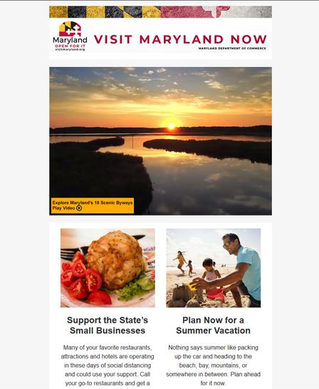 Visit Maryland Now - Sample Newsletter Image