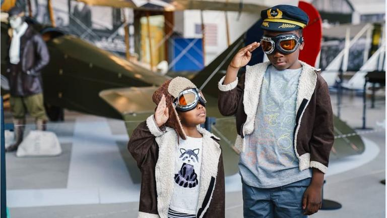 boys at aviation museum