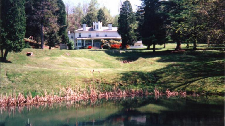 Mansion and pond