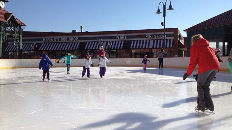 People ice skating at the ice rink in Glen Burnie