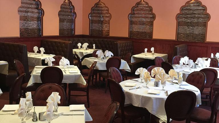 Interior seating at the Kadhai Restaurant in Bethesda
