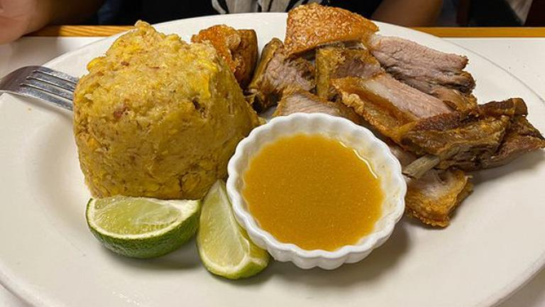Soup, Rise and Meat dinner plate from La Casa del Mofongo