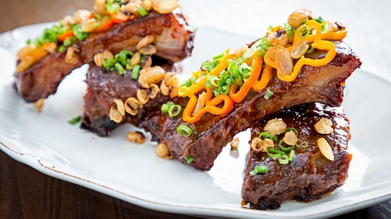 A plate of ribs from the Succotash Restaurant