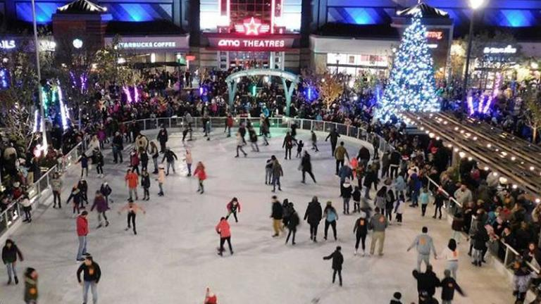 People ice skating the square in White Marsh