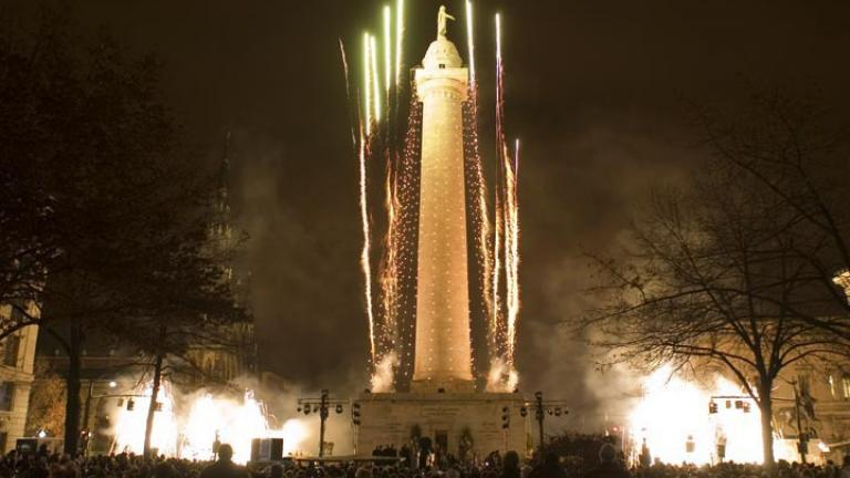 fireworks and lighting of the Monument