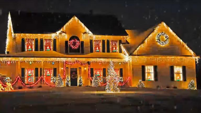 A house decorated for the Christmas hollidays