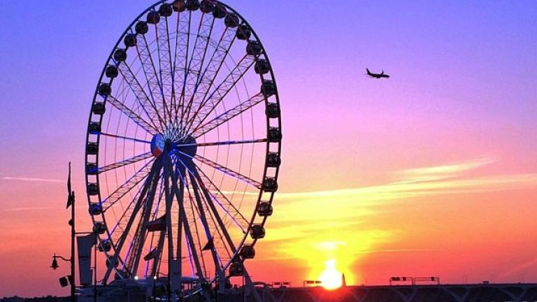 National Harbor's Capital Wheel at sunset