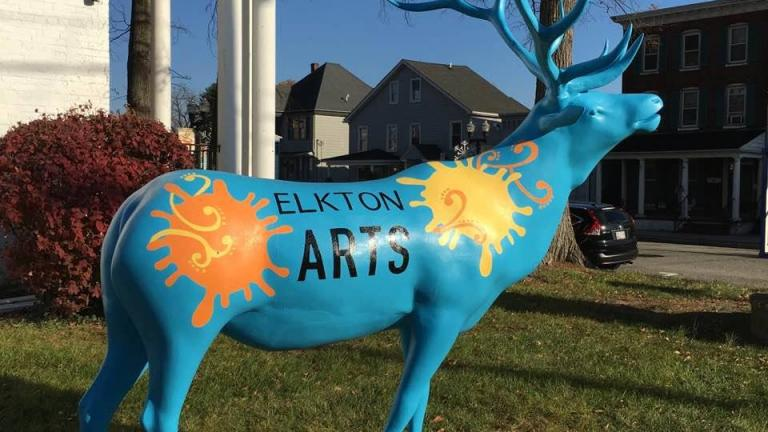 painted statue of an elk