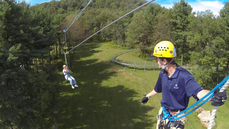 People on zip line