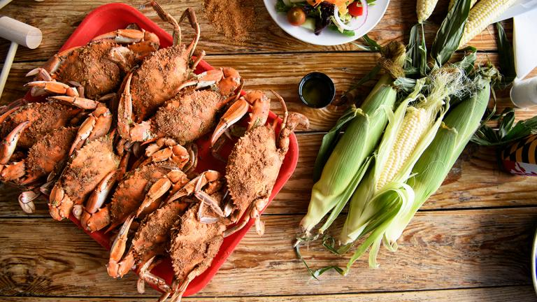 Maryland crabs and corn