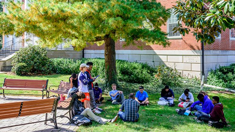 Students gathered for an outdoor discussion