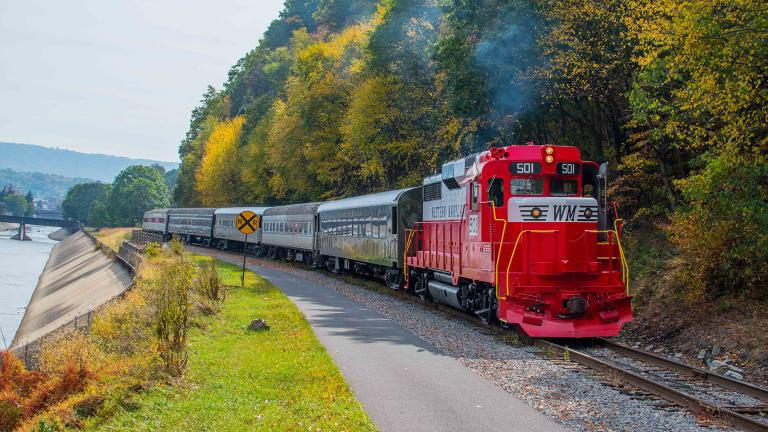 Western Maryland Scenic Railroad Traveling Along the Water