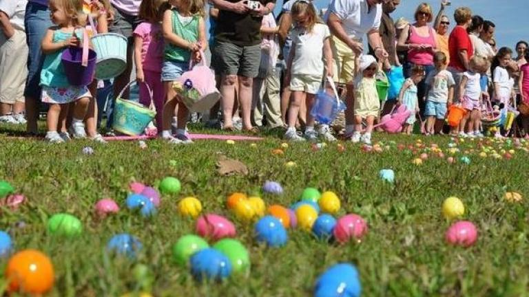 Children looking for Easter Eggs at the Westminster Easter Egg Hunt