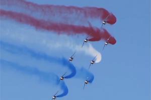 USAF Thunderbirds Red, White, Blue smoke