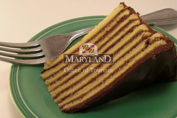 A slice of Smith Island Cake.