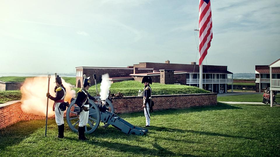 Watch battle reenactments at Fort McHenry in Baltimore.