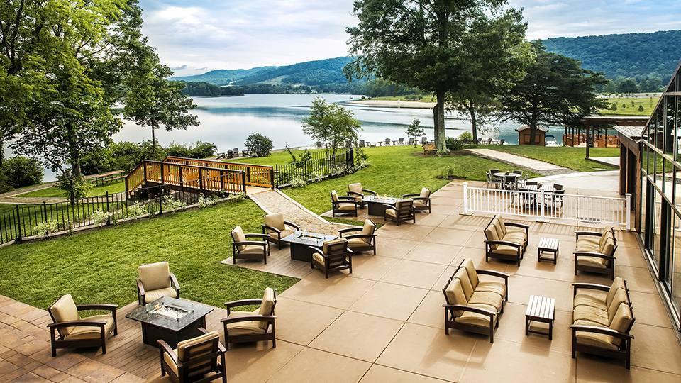 patio overlooking lake