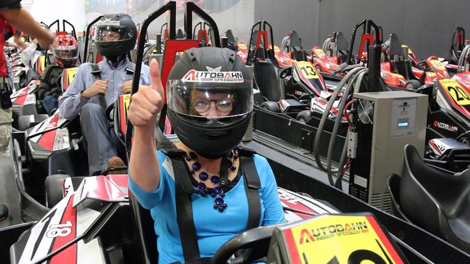 Woman in a go kart