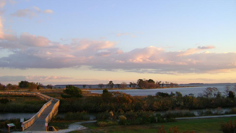 sunset view of land and bay