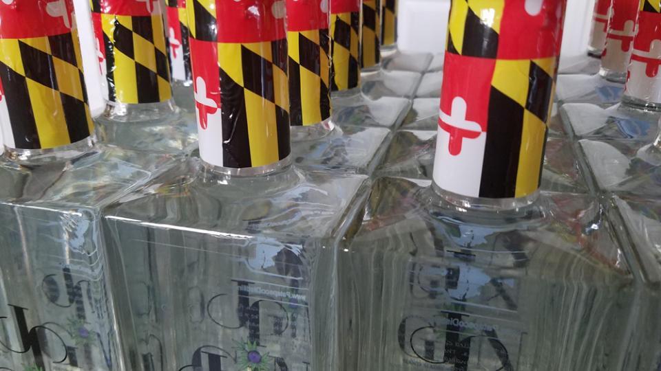 Maryland flag topped bottles