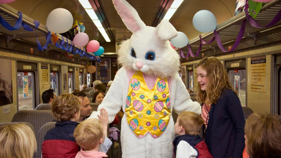 Children with the Easter Bunny during the B&O Bunny Breakfast and Train Ride