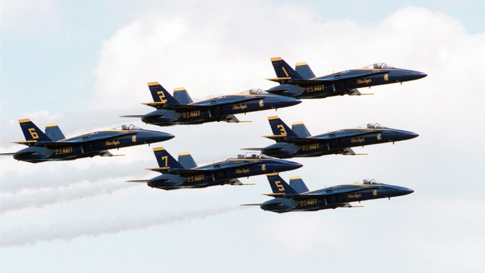 US Navy Blue Angels in formation