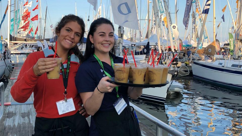 "Serving ""Pusser's Painkillers"" at the Annapolis Sailboat Show"