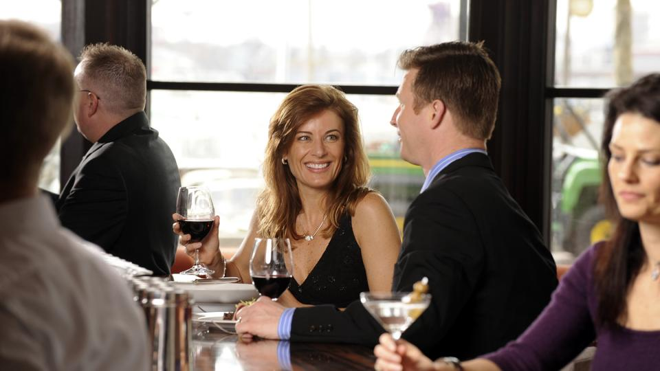 A Couple Enjoying Wine at the Charleston Restaurant in Baltimore