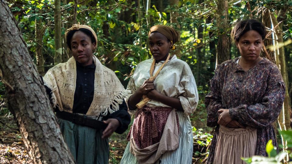 Actresses in woods