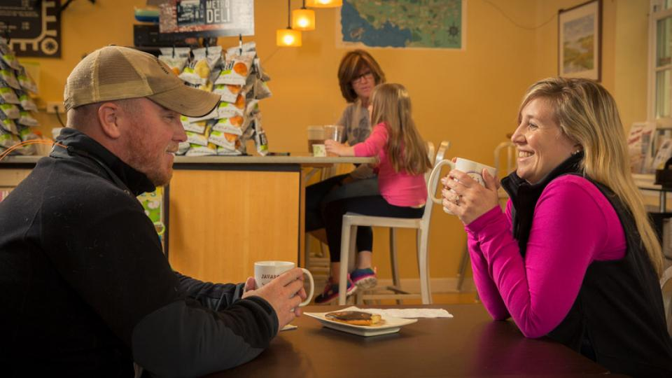 A Couple Enjoy Coffee at Java Rock in Kent County