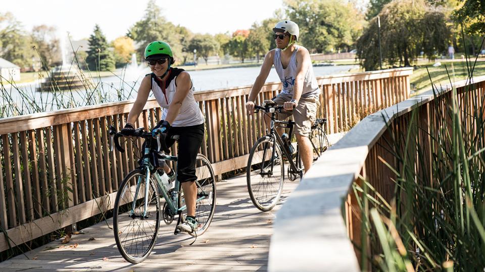 People Biking in Downtown  Frederick