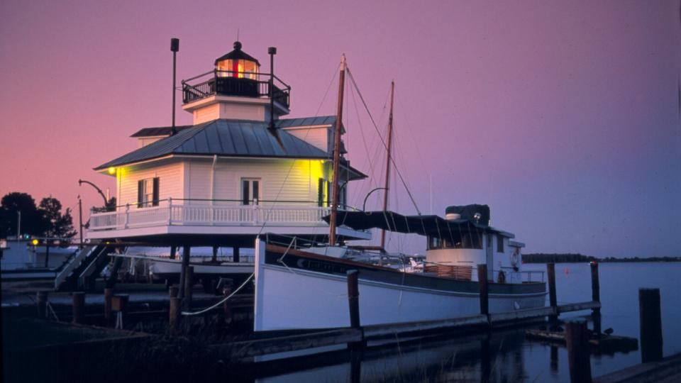 See this 1879 Hooper Strait Chesapeake screw-pile lighthouse at Chesapeake Bay Maritime Museum