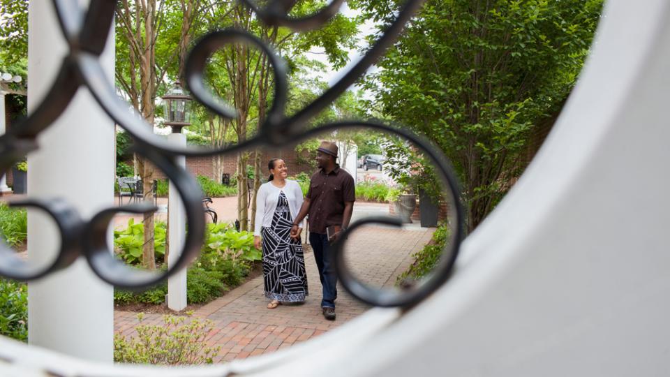 Couple walking in Easton