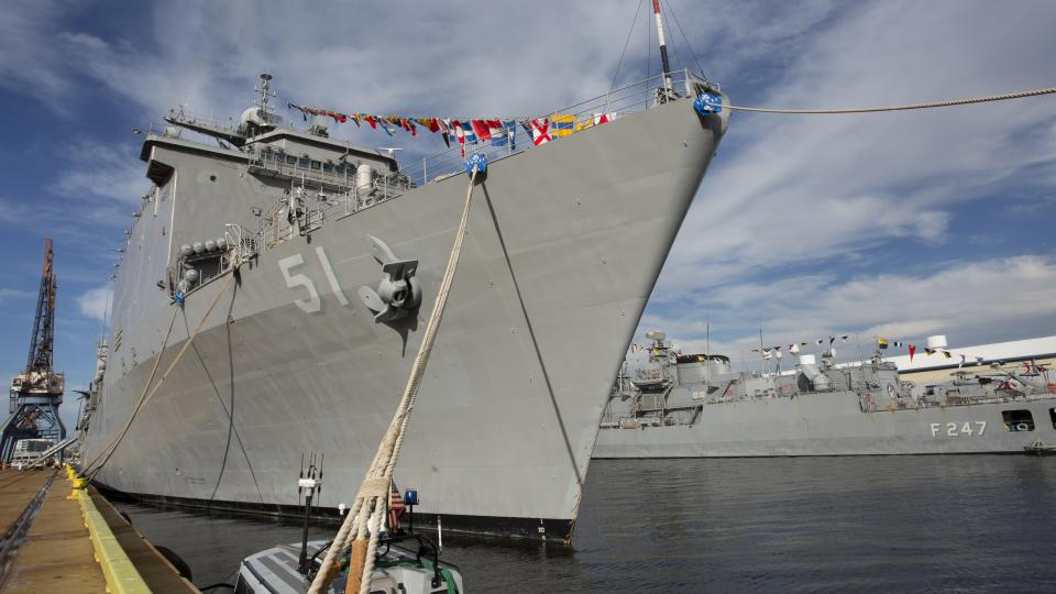 Navy warships stand ready for visitors at North Locust Point in Baltimore