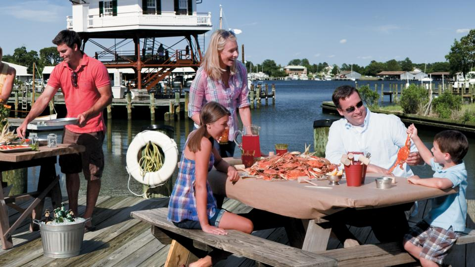 Food tastes better by the water, and what better place for a crabfeast than in Solomons on the Chesapeake.