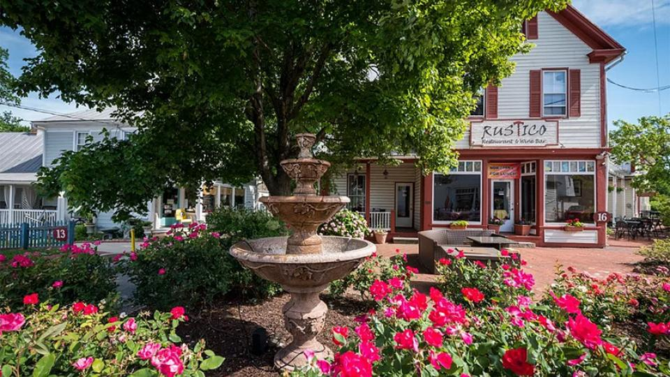 fountain, flowers and shops