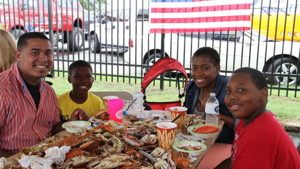 Enjoying Maryland crabs