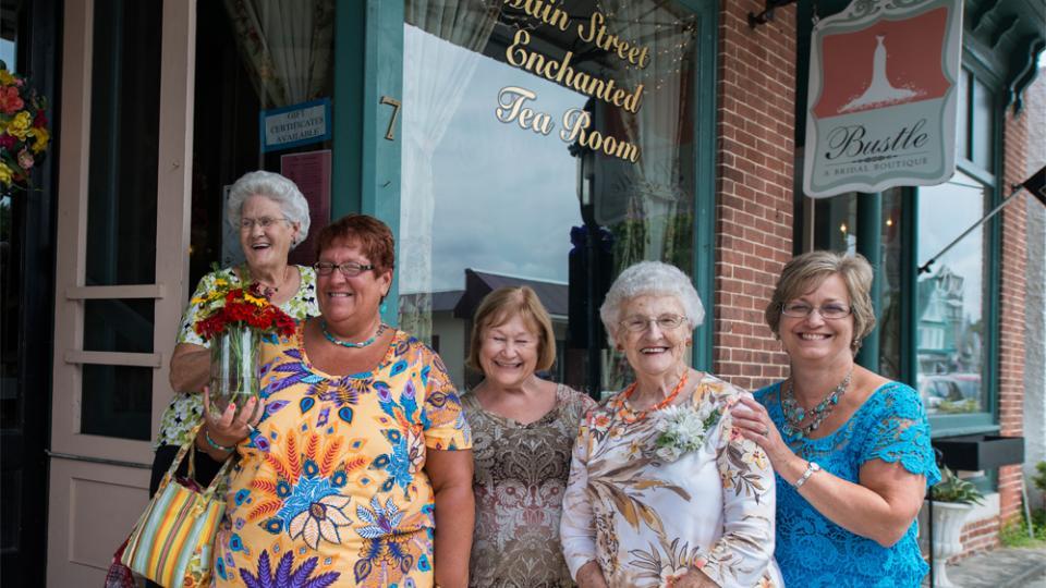 ladies in front of a tea room