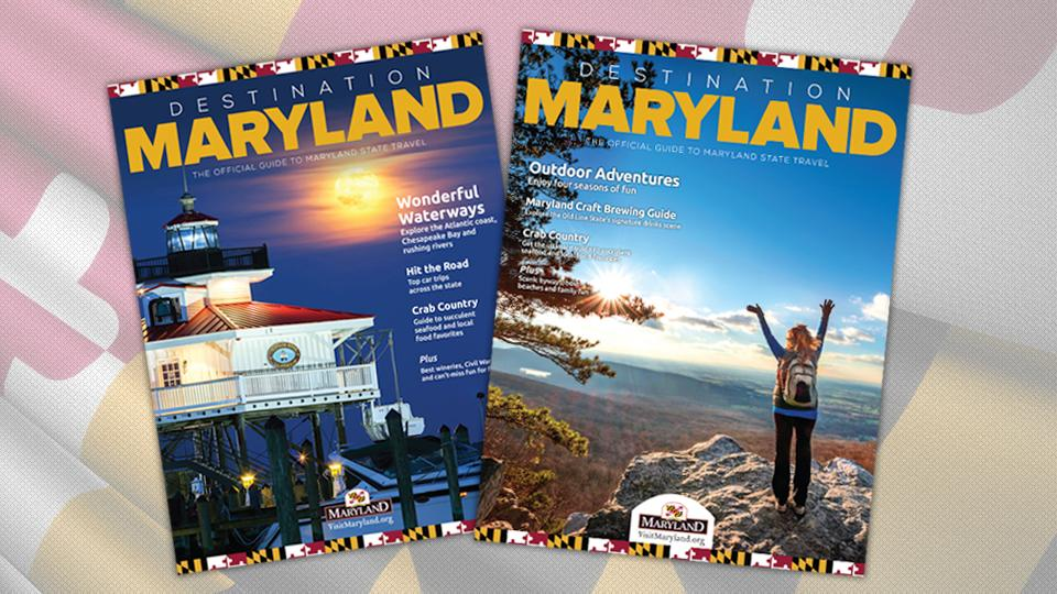 Two different cover options for the Destination Maryland travel guide.