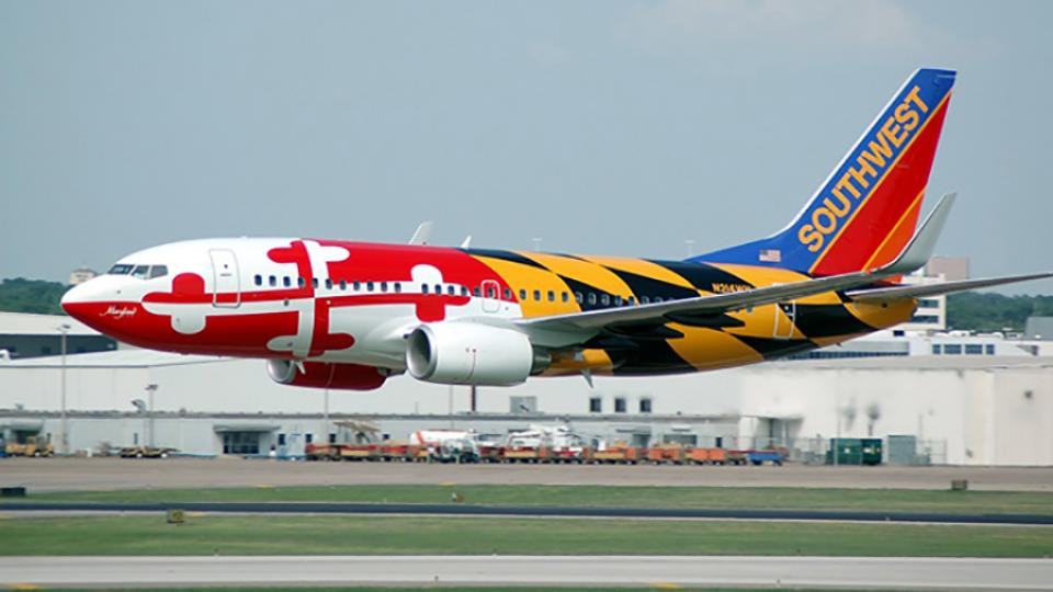 Southwest plane with MD flag