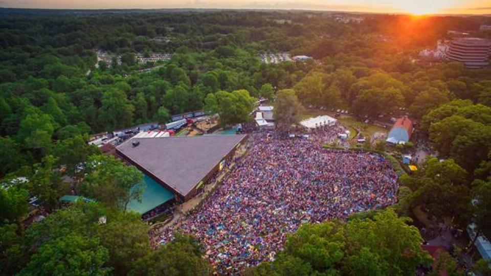 Merriweather Post Pavilion from above shows music lovers on lawn