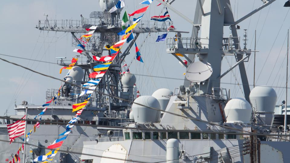 Navy Warships visit Baltimore's Inner Harbor
