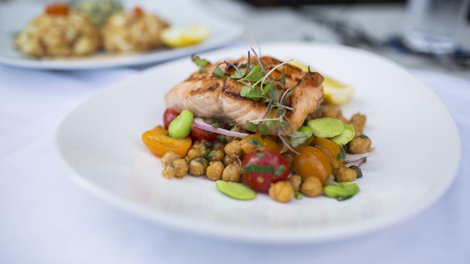 Salmon at Ouzo Bay Restaurant