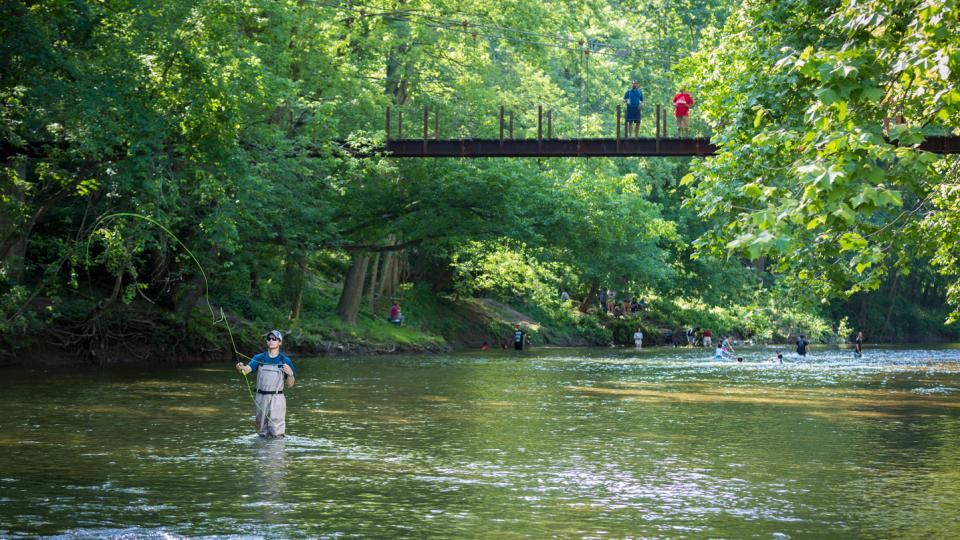 Patapsco Valley State Park is a wooded oasis along the Patapsco River between Ellicott City and Elkridge.