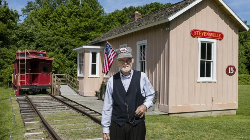 Railroad Conductor at Historic Stevensville Railroad