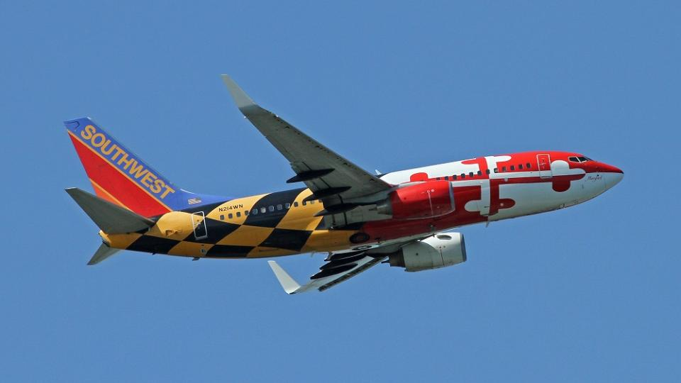 Maryland flag inspired plane