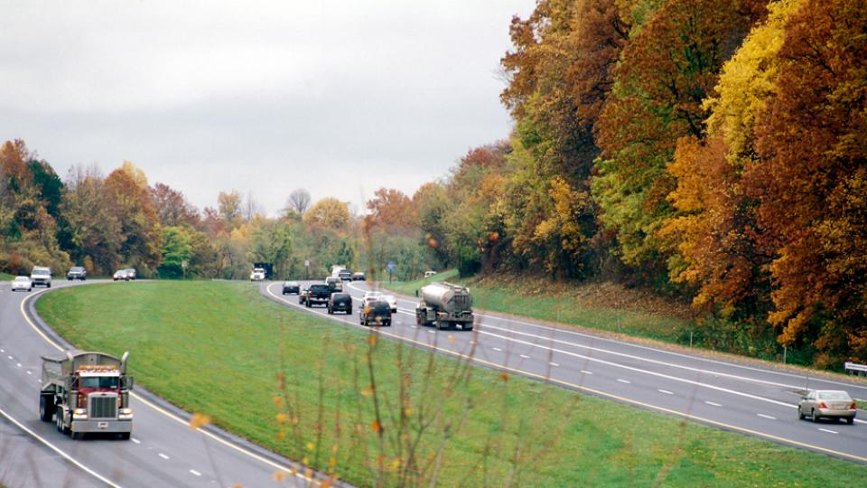 Vehicles traveling on a Maryland highway.